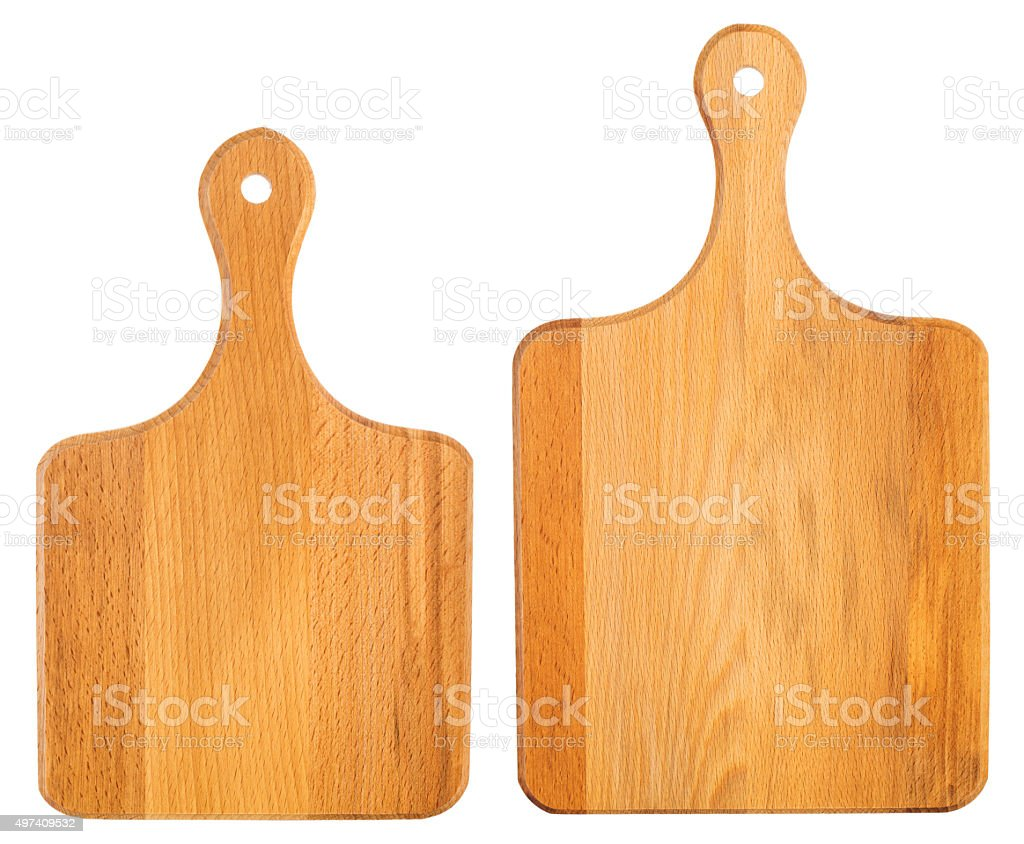 Set of new wooden chopping boards isolated on white stock photo