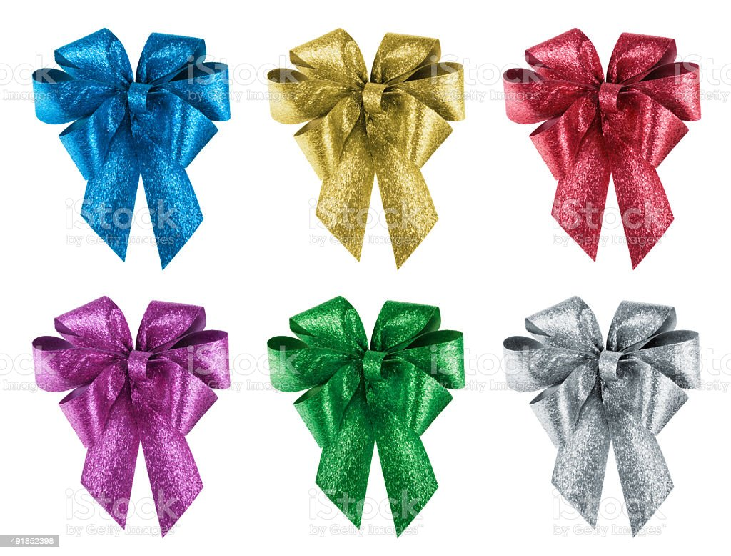 Set of nice gift bows in 6 different colours stock photo