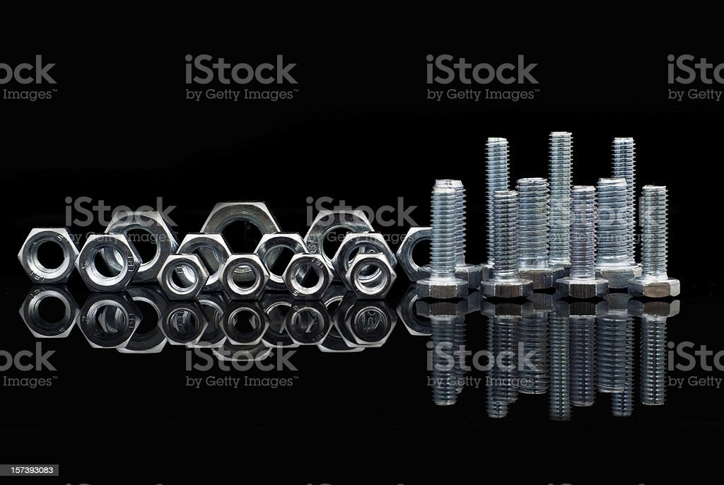 Set of nuts and bolts royalty-free stock photo