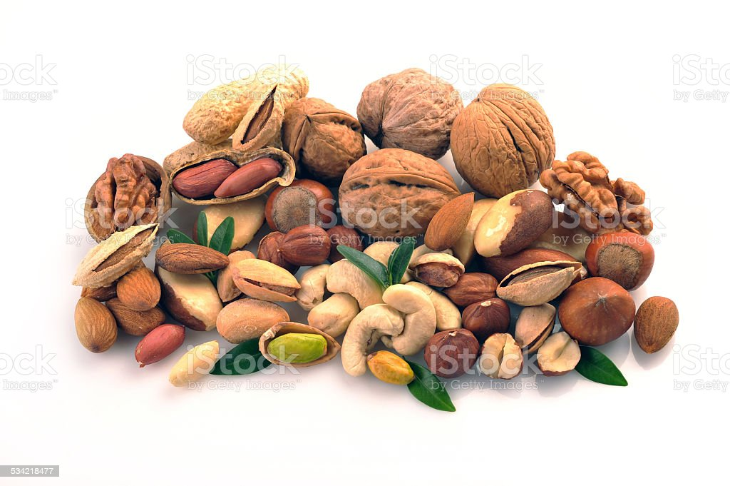 set of nuts on a white background stock photo