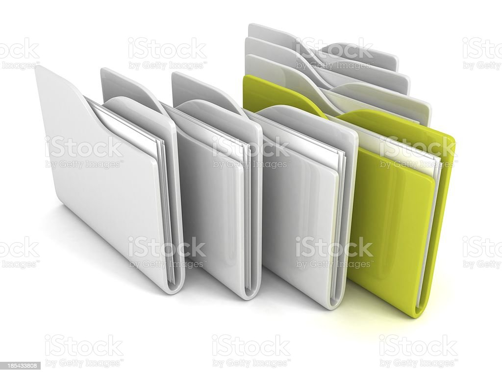 set of office paper folders with one green royalty-free stock photo