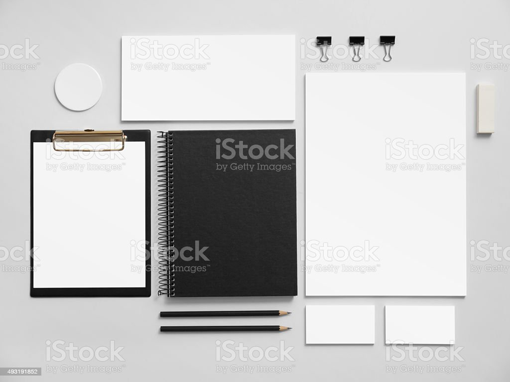 Set of office stationery for brand presentation stock photo
