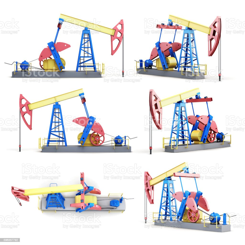 Set of oil pump isolated on white background. 3d rendering stock photo