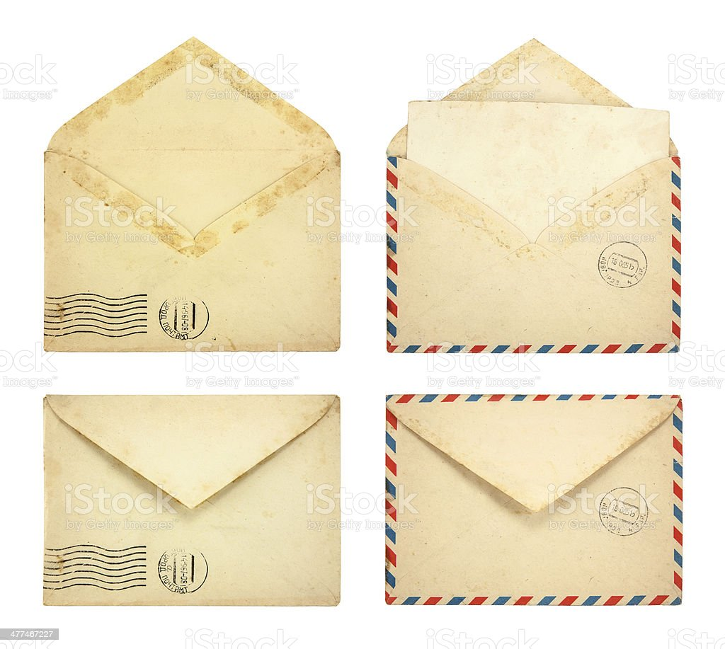 Set of Old envelopes stock photo