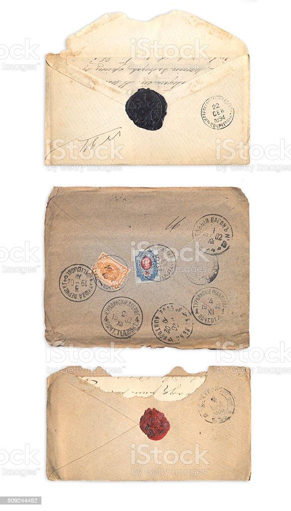 Set of old envelopes stock photo