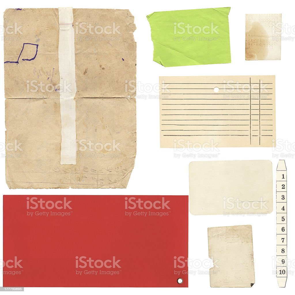Set of old paper sheets and card royalty-free stock photo