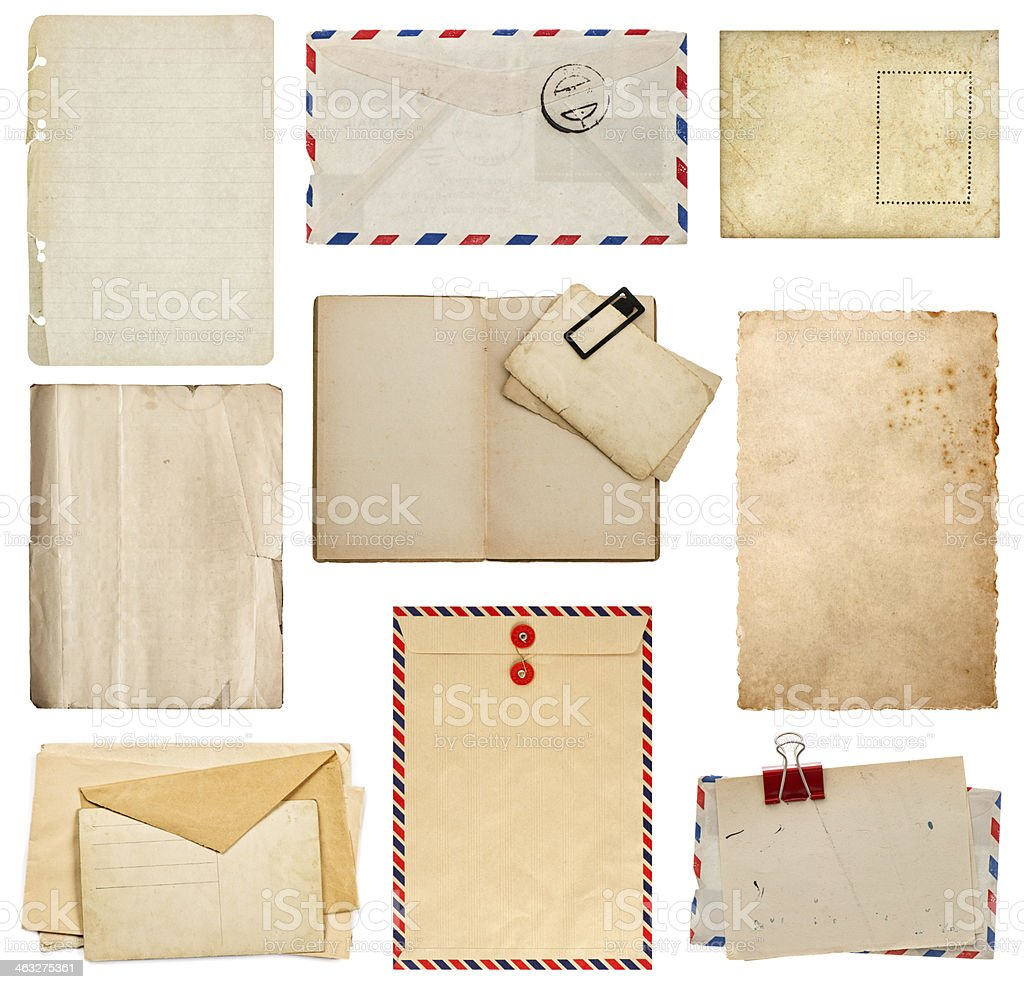 set of old paper sheets, book, envelope, card stock photo