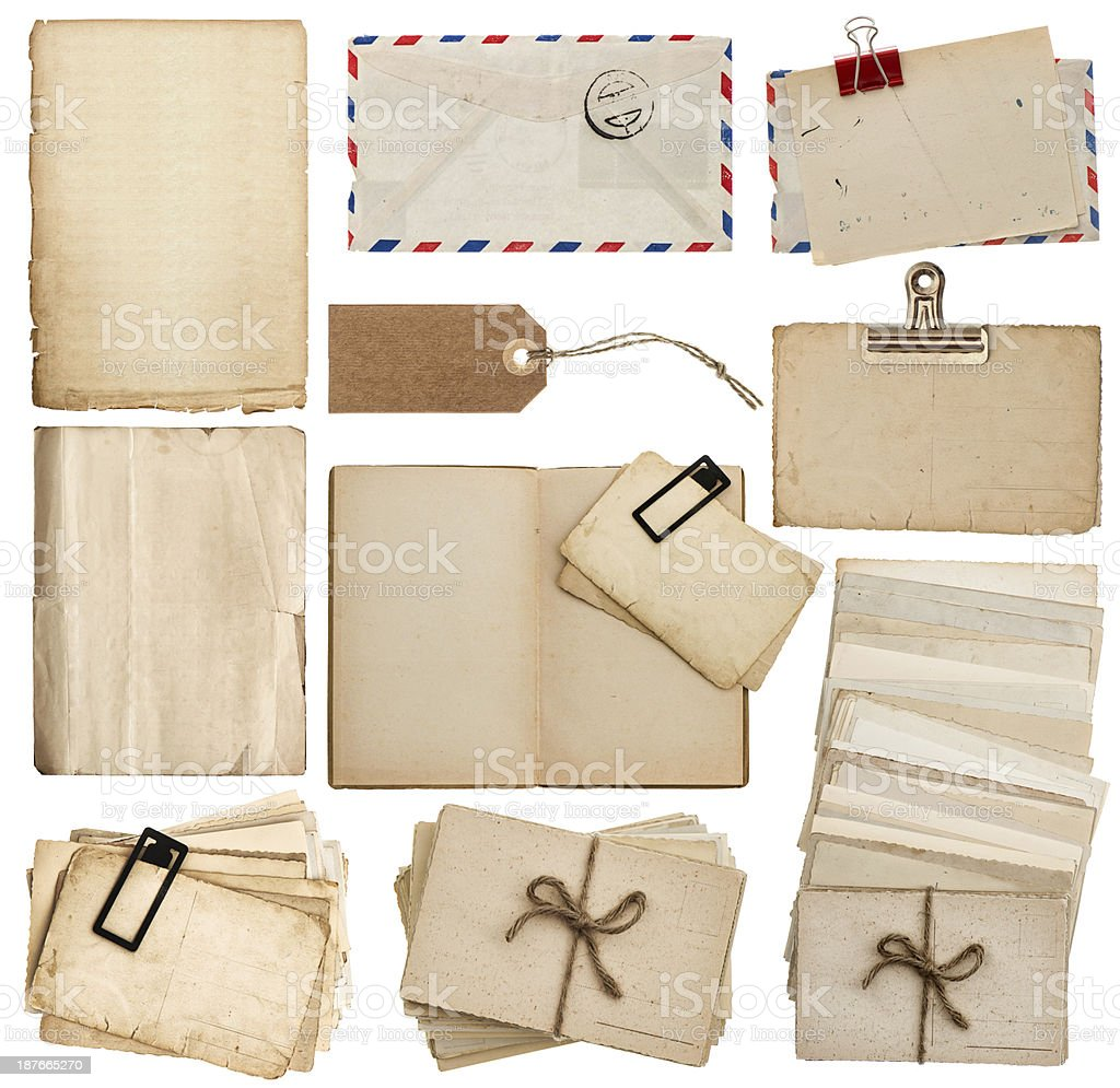set of old paper sheets, book, envelope, postcards, tags royalty-free stock photo