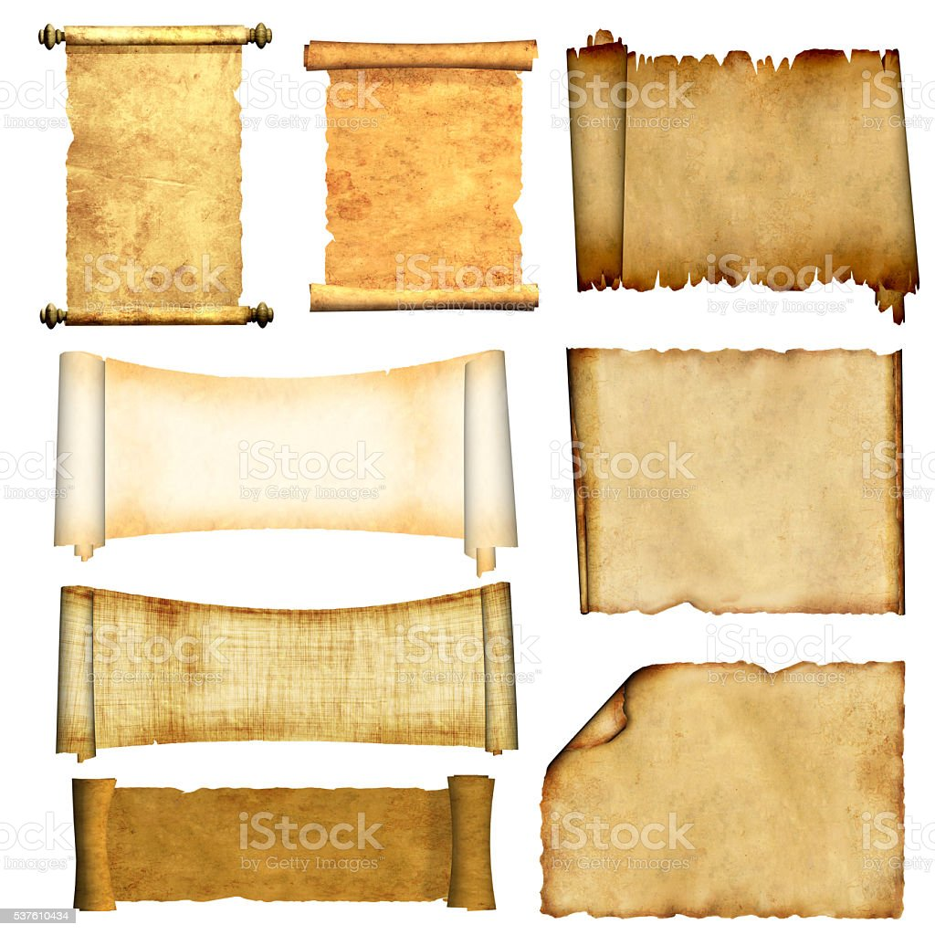 Set of old parchments stock photo