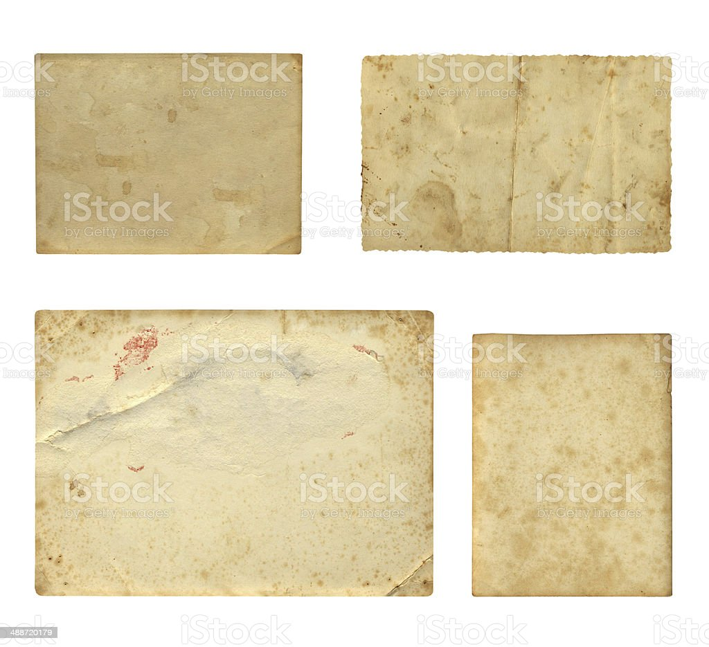 Set of  old photo paper texture isolated on white background stock photo