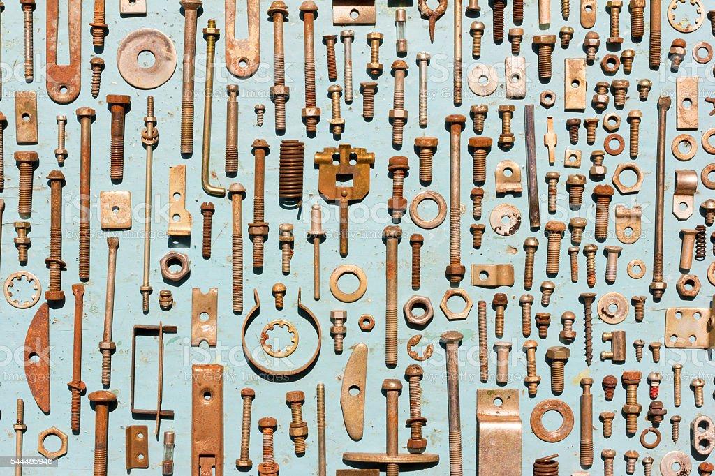 set of old rusty metal screws stock photo