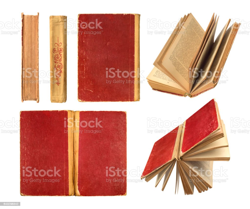 set of old vintage book stock photo