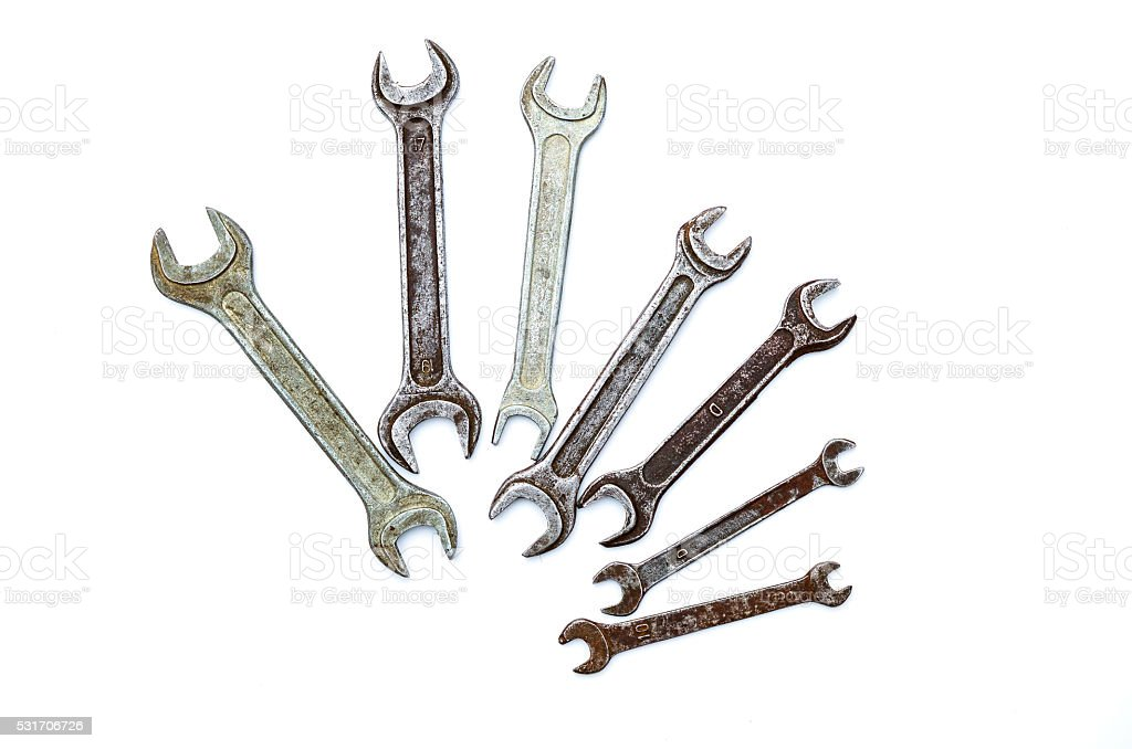 set of old wrenches on a white background stock photo