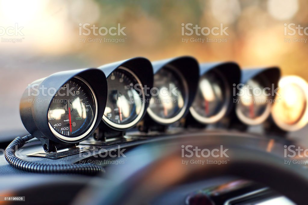 Set of optional devices inside cocpit the sport car stock photo