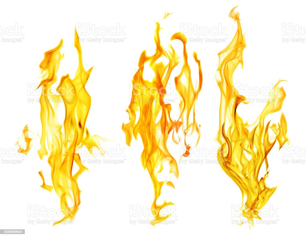 set of yellow flames isolated on white background
