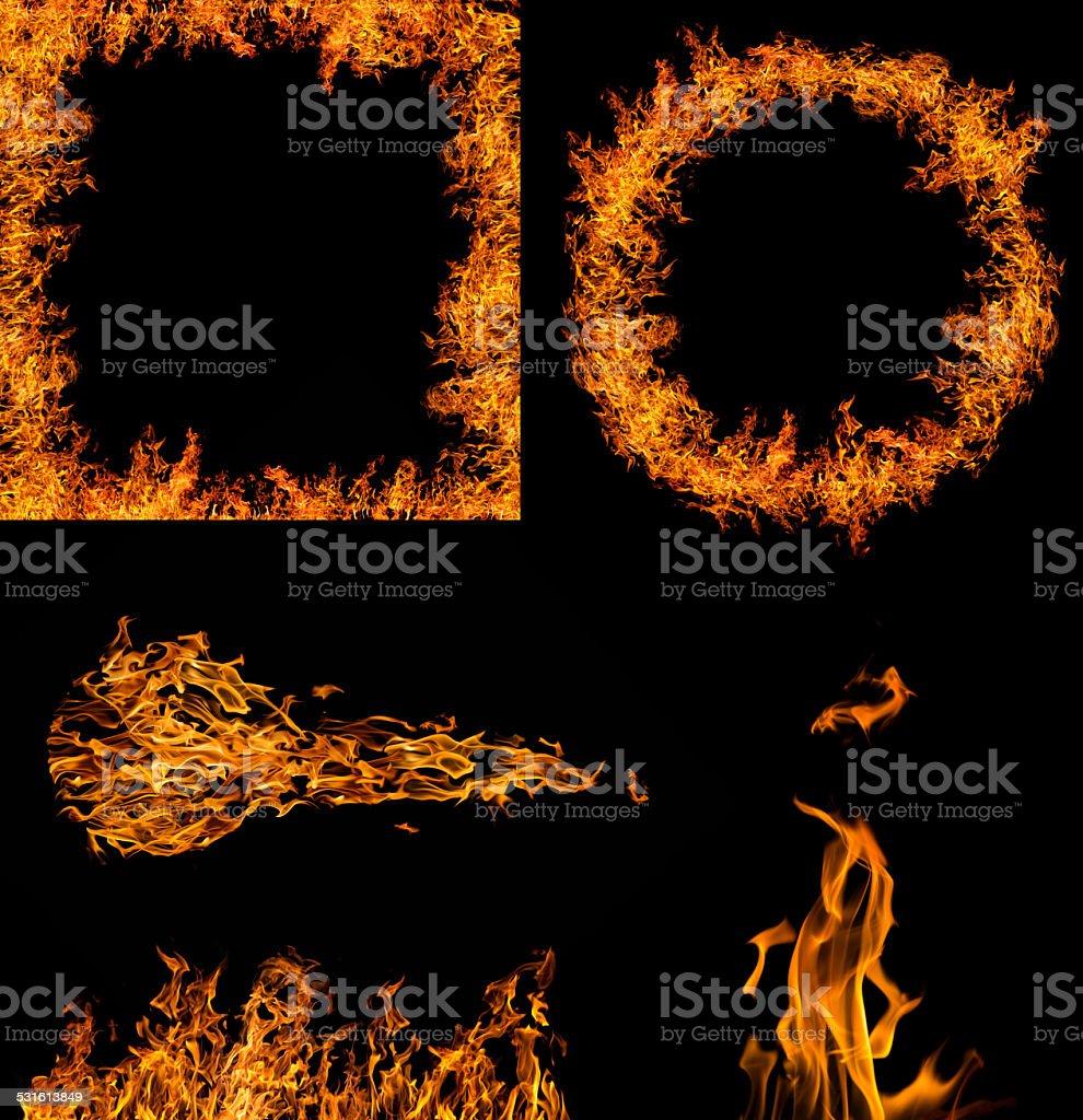 set of orange flame elements collection on black stock photo