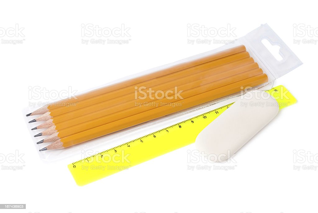 Set of ordinary pencils different hardness, ruler and eraser stock photo