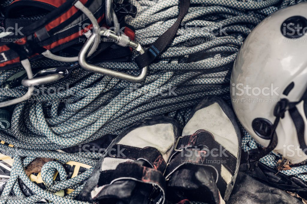 Set of outfit for climbing sport outdoor, top view stock photo