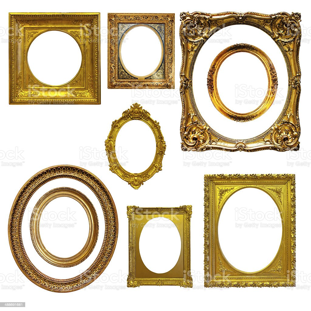 Set of oval picture  frames stock photo