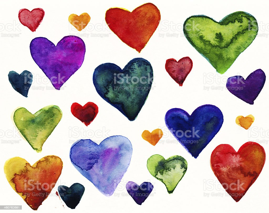 Set of painted hearts stock photo