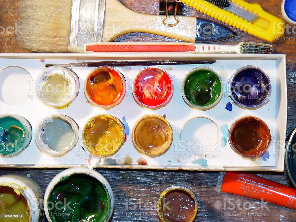 Set of paints - directly above stock photo