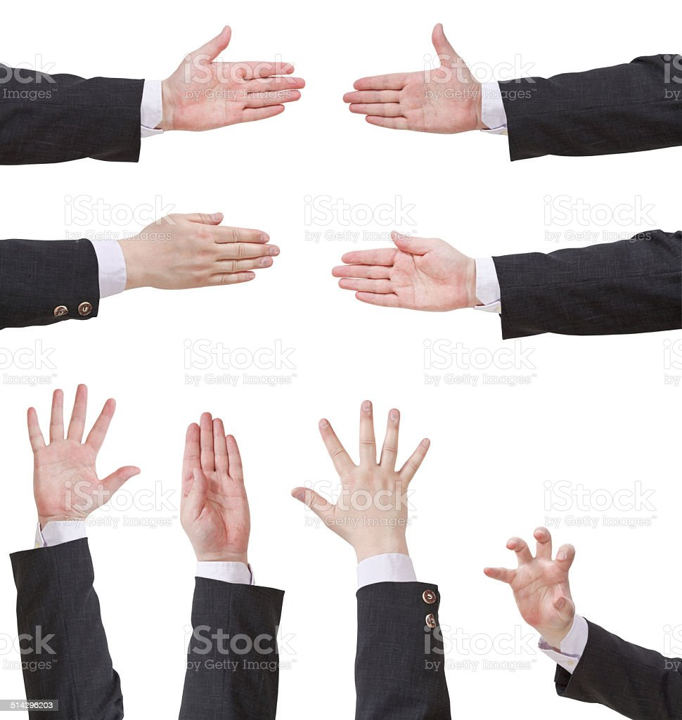 set of palms with five fingers stock photo