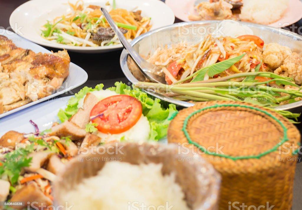 Set of papaya spicy salad meal stock photo