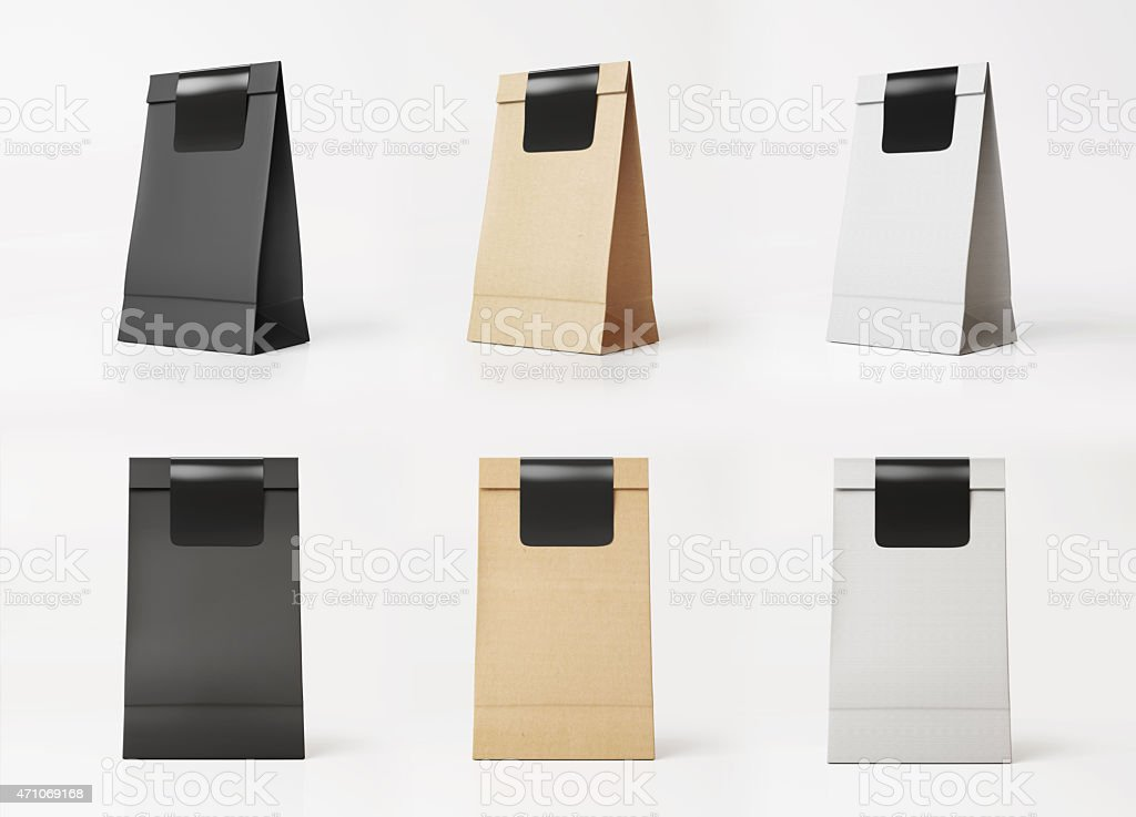 Set of paper bag templates stock photo
