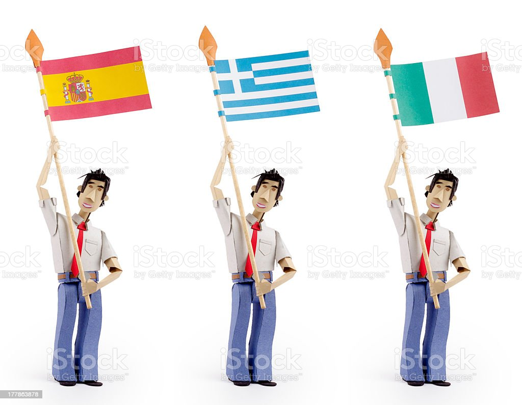 Set of paper men holding european flags. royalty-free stock photo