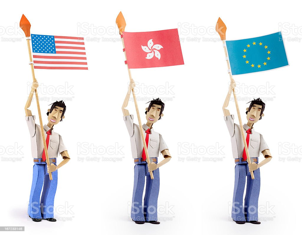 Set of paper men holding flags royalty-free stock photo
