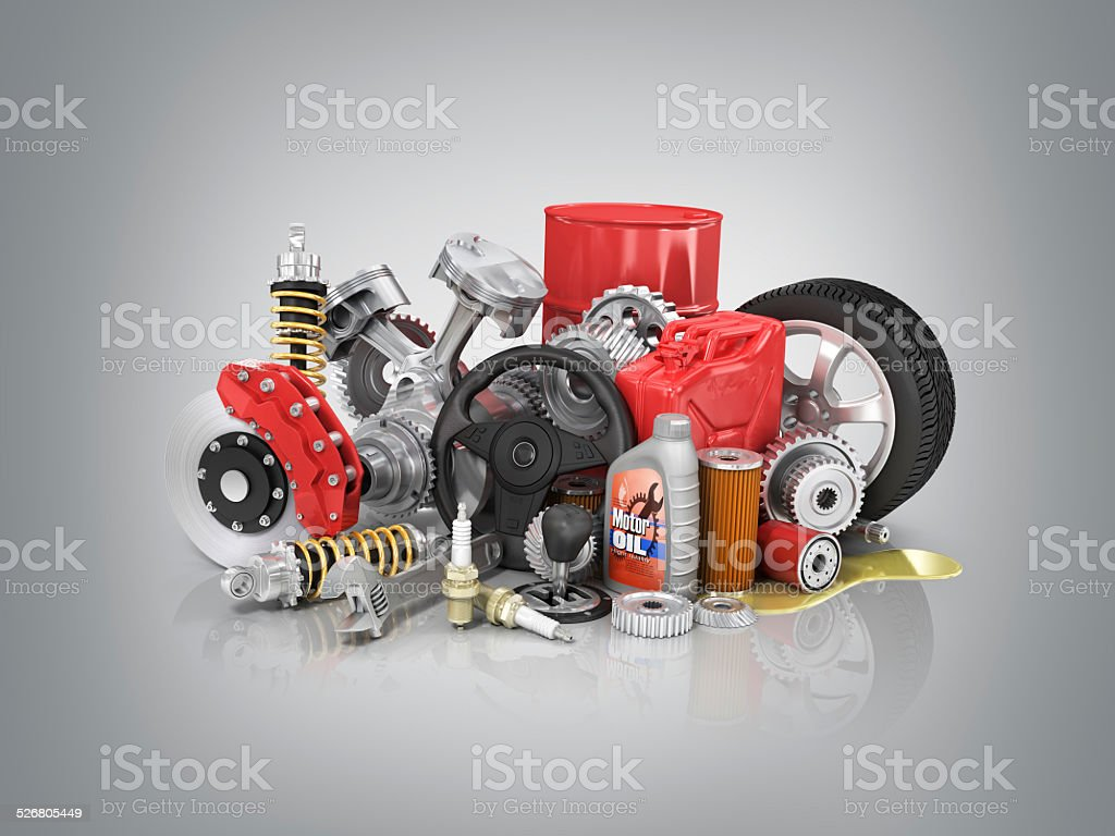 Set of parts of car. 3d render stock photo