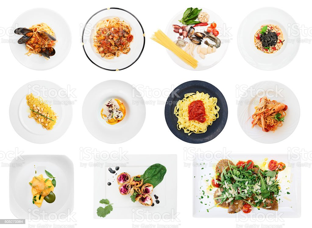 Set of pasta and ravioli dishes isolated on white stock photo