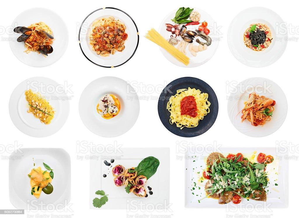 Set of pasta and ravioli dishes isolated on white stock photo