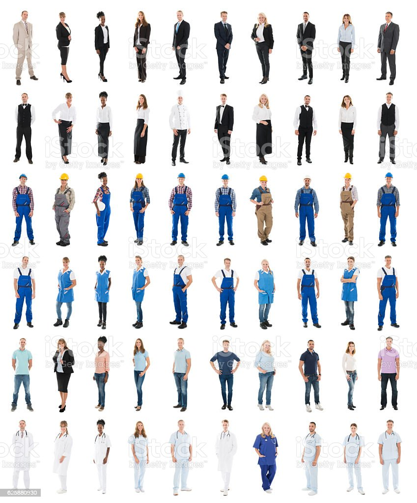 Set Of People With Various Occupations Standing Against White...