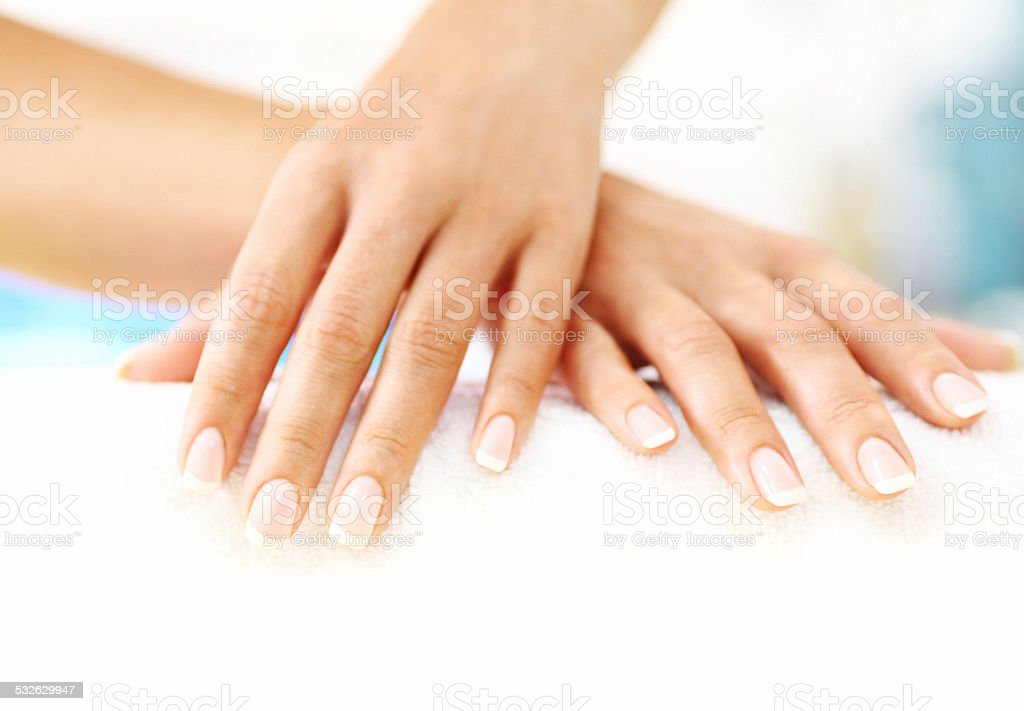 Set of perfectly manicured fingernails. stock photo