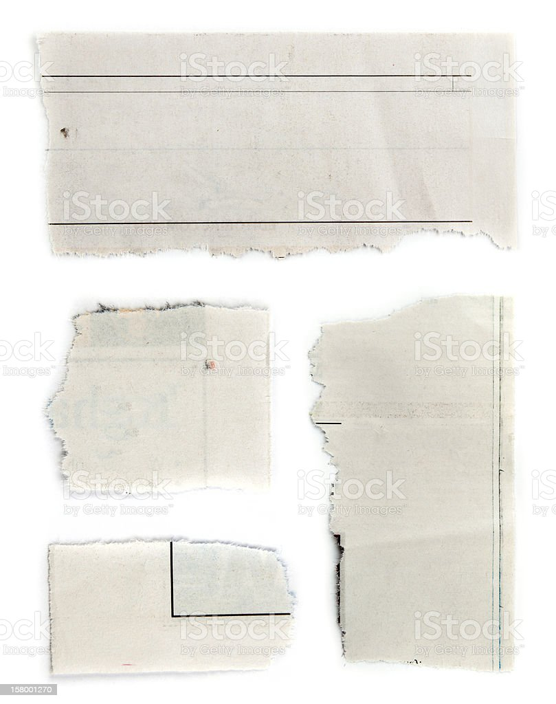 Set of pieces of torn paper in white background stock photo
