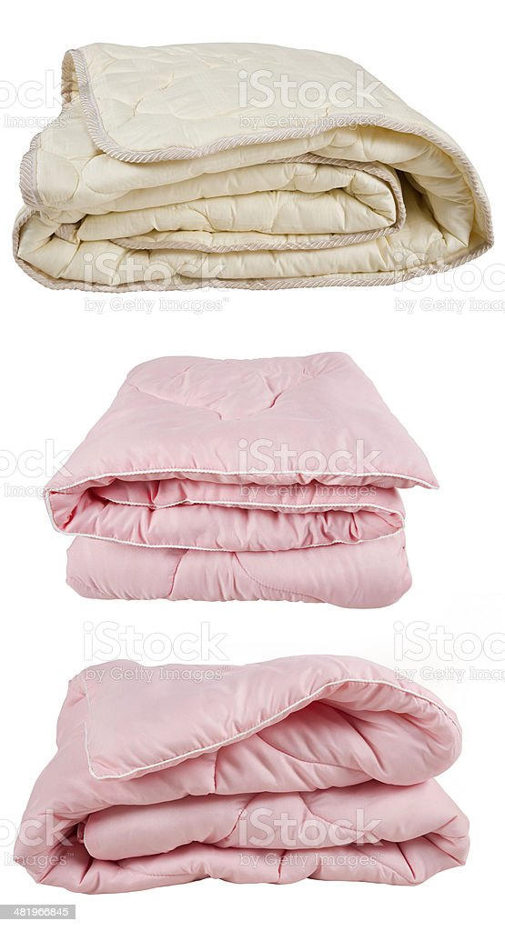 set of pink and beige blankets stock photo