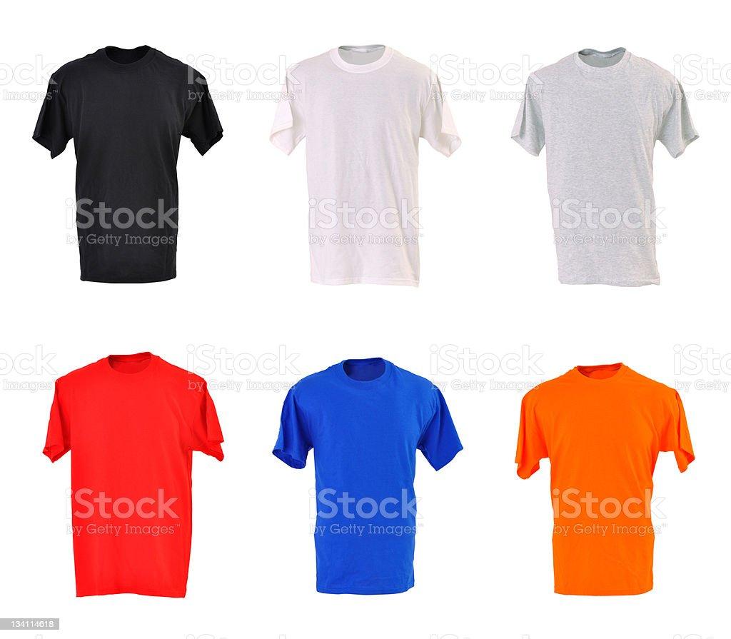 Set of plain t-shirts royalty-free stock photo