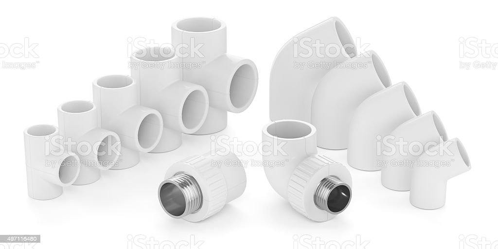 Set of plastic fittings for water pipeline stock photo