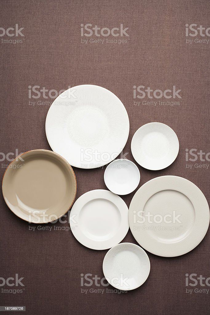 Set of plates and bowls stock photo