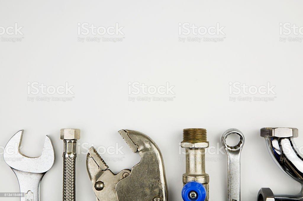 set of plumber tools stock photo
