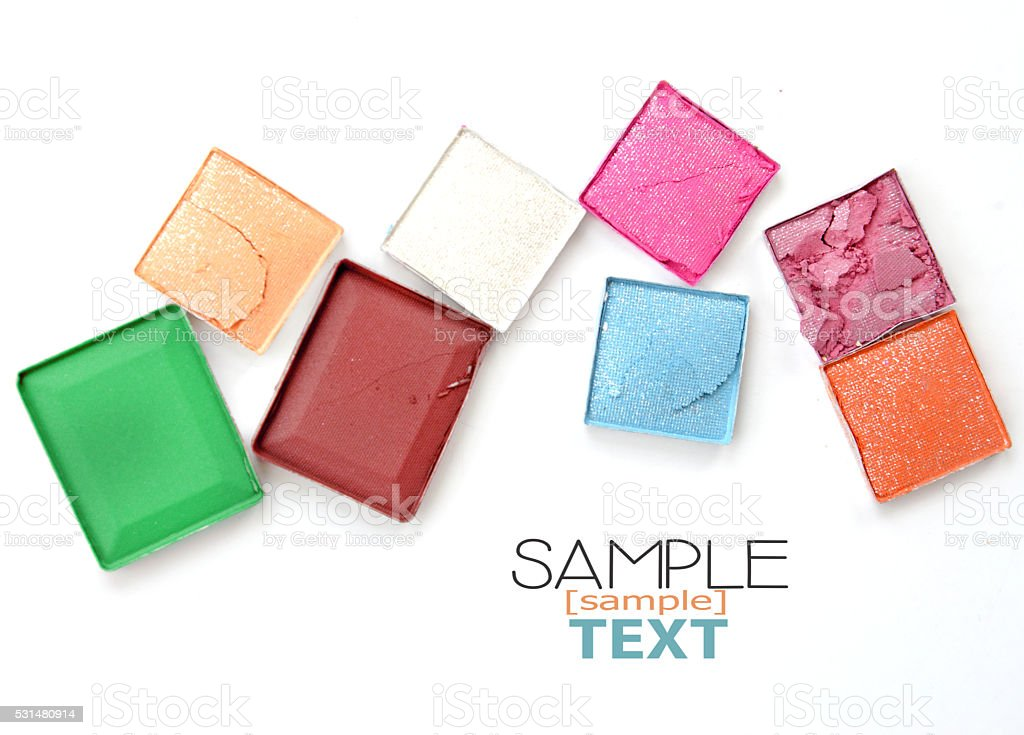 Set of powder eye shadows in box isolated (sample text) stock photo