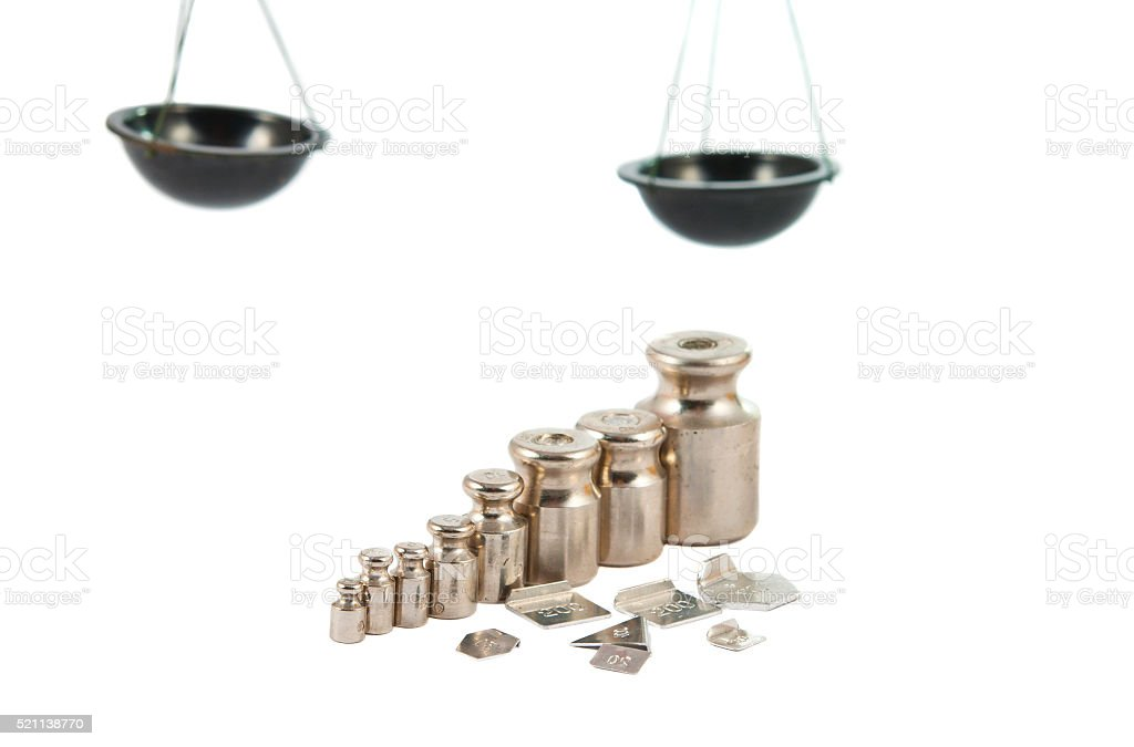 set of precision weights stock photo