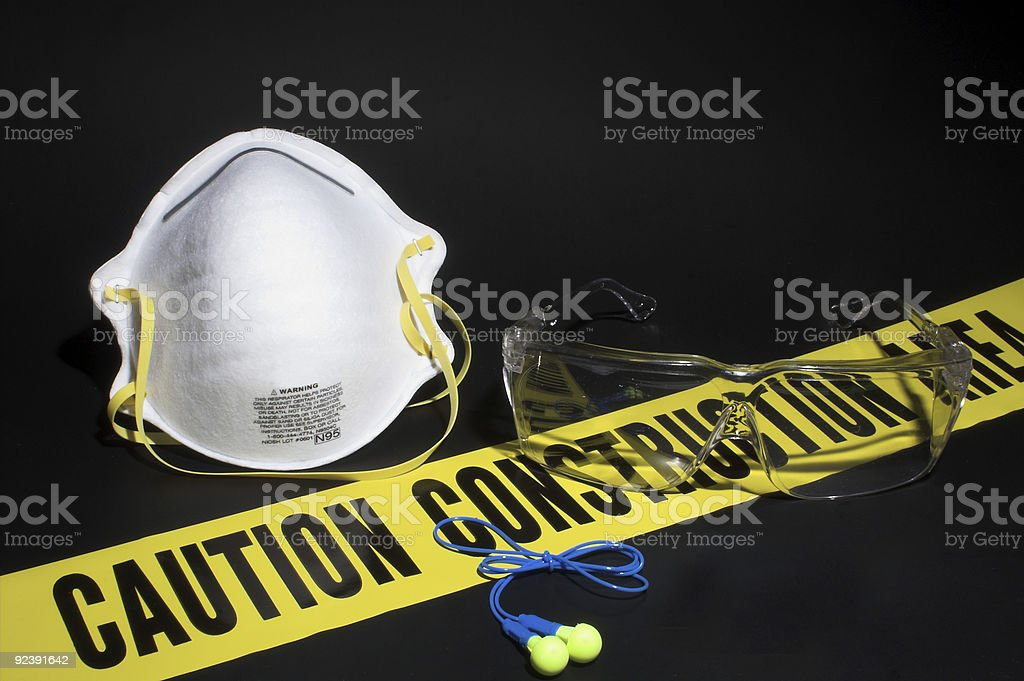 A set of protective equipment like mask and glasses  stock photo