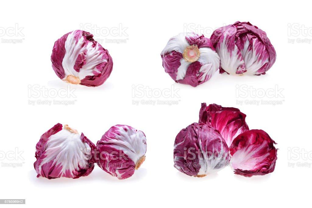 Set of Radicchio or red salad isolated on white background stock photo