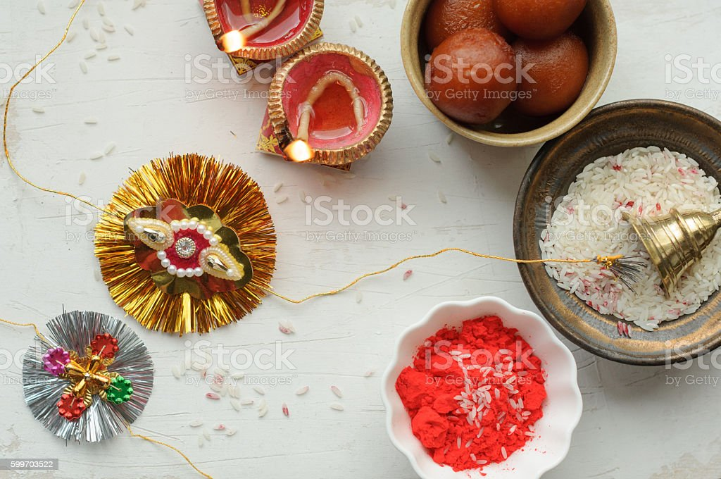 Set of Rakhi on a white background stock photo