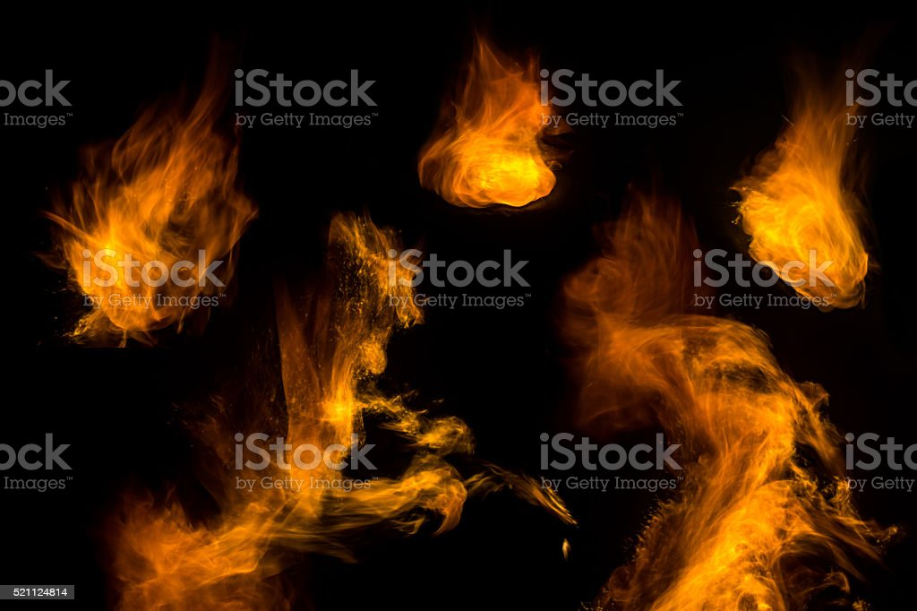 Set of real flames on black for design elements stock photo