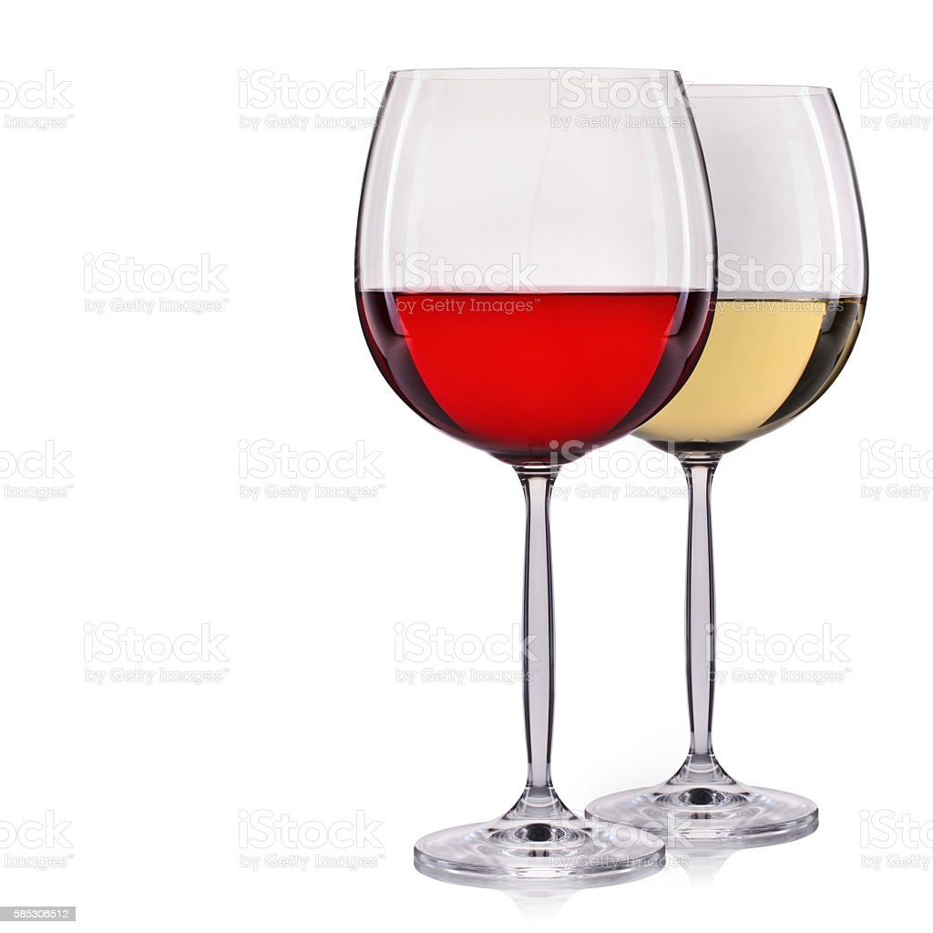 Set of red and white wine in a glasses, isolated stock photo
