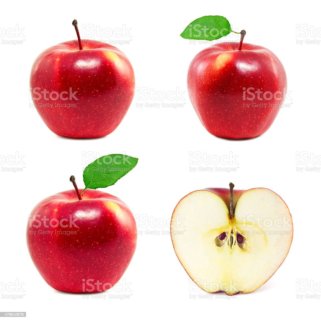 Set of red apples stock photo
