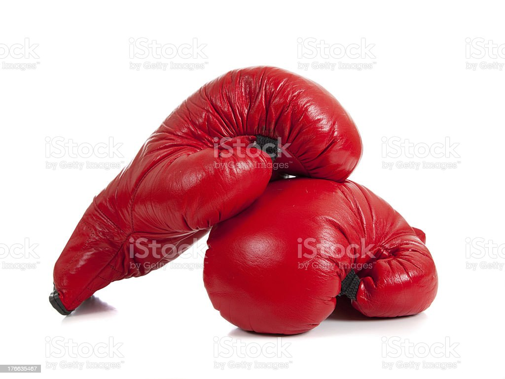 Set of Red Boxing Gloves royalty-free stock photo